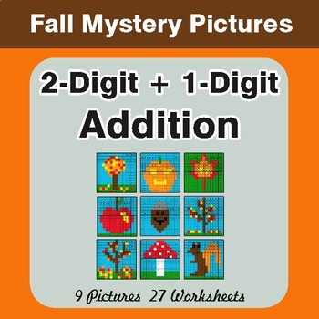 Autumn: 2-Digit + 1-Digit Addition - Color-By-Number Mystery Pictures