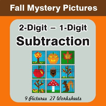 Autumn: 2-Digit - 1-Digit Subtraction - Color-By-Number Math Mystery Pictures