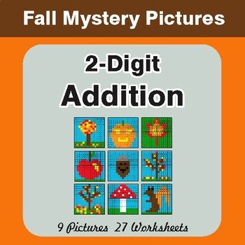Autumn: 2-Digit Addition - Color-By-Number Mystery Pictures