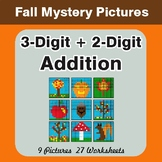 Autumn: 3-Digit + 2-Digit Addition - Color-By-Number Math Mystery Pictures