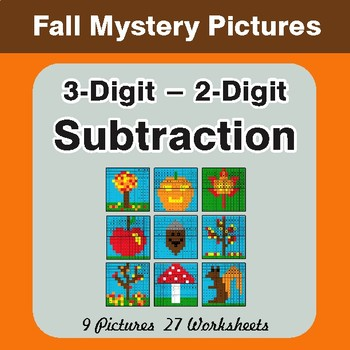 Autumn: 3-Digit - 2-Digit Subtraction - Color-By-Number Math Mystery Pictures