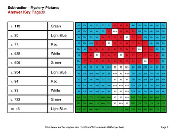 Autumn: 3-Digit Subtraction - Color-By-Number Mystery Pictures