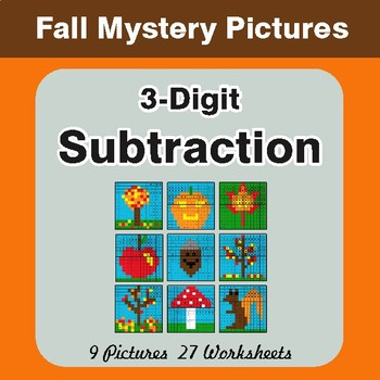 Autumn: 3-Digit Subtraction - Color-By-Number Math Mystery Pictures