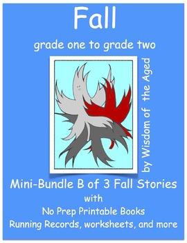 Autumn - 4 Printable No Prep Reading Books  - Mini-Bundle B - Grade 1 to Grade 2