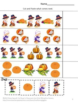 Thanksgiving Cut and Paste Activities Special Education Math and Literacy Center