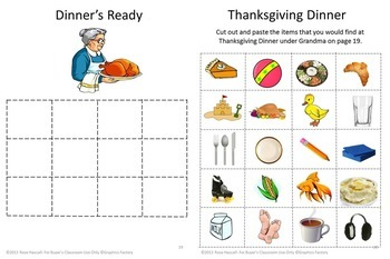 Thanksgiving Kindergarten Math and Literacy Worksheets, Cut and Paste Activities