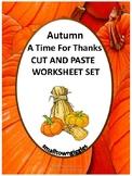 Thanksgiving Cut and Paste No Prep Pre-K Kindergarten Math