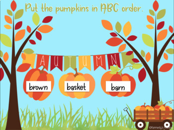Autumn ABC Order to the 2nd and 3rd Letters (Great for Google Classroom!)