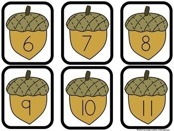 Fall Acorn Number Flashcards 0-20