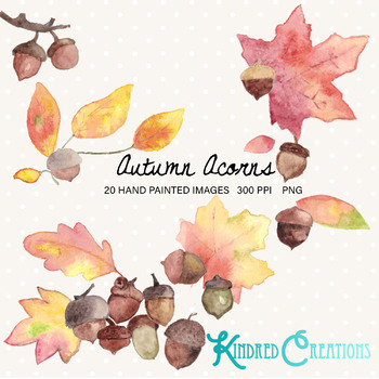 Autumn Acorns Clipart Set