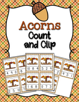 Autumn Acorns Count and Clip Cards Numbers 0-10