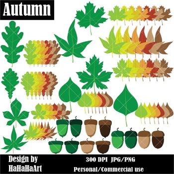 Autumn Acorns and Leaves Digital Clip Art Graphics 84 images cod13