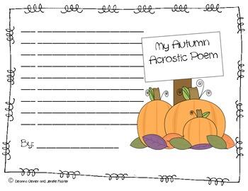 Autumn Acrostic Poem Writing Fun