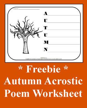 Autumn Acrostic Poetry Worksheet