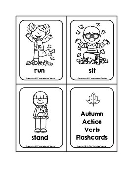 Autumn Action Verb Picture Word B&W Flash Cards