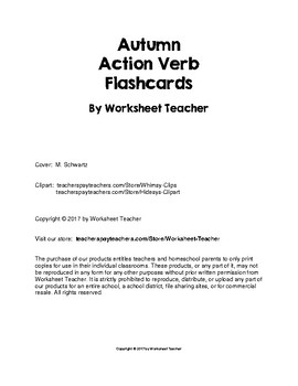 Autumn Action Verb Picture Word Flash Cards