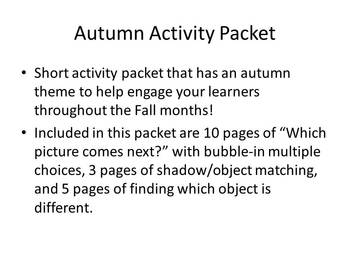 Autumn Activity Packet for young Learners!