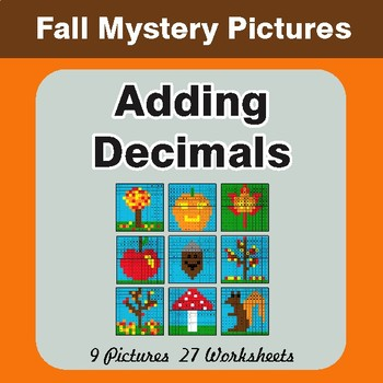 Autumn: Adding Decimals - Color-By-Number Math Mystery Pictures