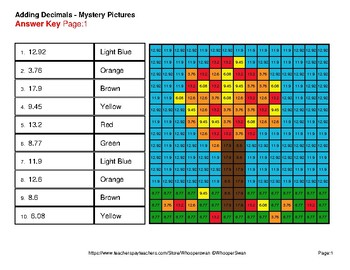 Autumn: Adding Decimals - Color-By-Number Mystery Pictures
