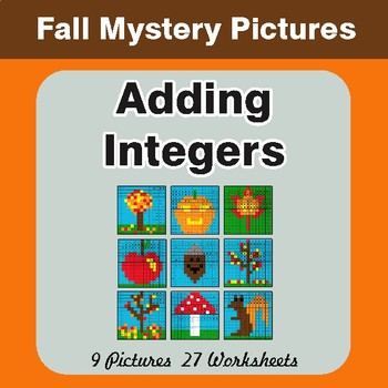 Autumn: Adding Integers - Color-By-Number Math Mystery Pictures