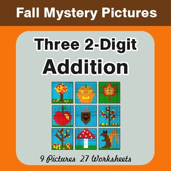 Autumn: Adding Three 2-Digit Addition - Color-By-Number Math Mystery Pictures