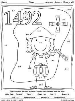 Autumn Addition ~ Math Printables Color By The Code Puzzles For Fall