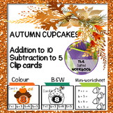 Thanksgiving Math Addition Subtraction to 10 Clip Cards
