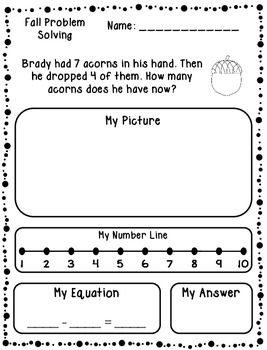 Autumn Addition & Subtraction Word Problems (Kindergarten/First)
