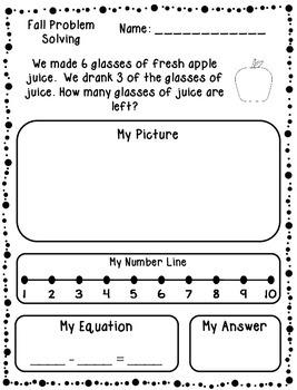 Autumn Addition & Subtraction Word Problems (Kindergarten/First)