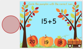 Autumn Addition - Sums to 20 (Great for Google Classroom!)