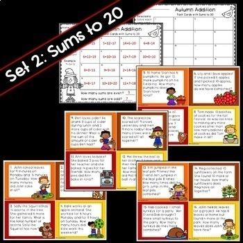 Autumn Addition Word Problem Task Cards **Differentiated**