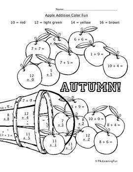 Autumn Addition and Subtraction Color Fun