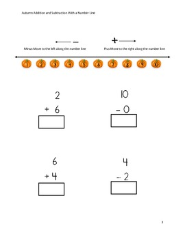 Autumn Addition and Subtraction With a Number Line