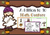 Autumn Addition to 10 Math Centers- FREEBIE!