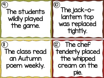 Autumn Adverbs Task Cards and  Cloze Passage Summative Assessment