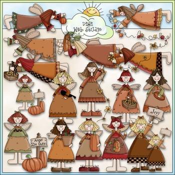 Autumn Angels Clip Art - Fall Clip Art - Autumn Clip Art - CU Clip Art & B&W