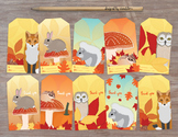 Autumn Animal Gift Tags - 10 Illustrated Woodland Fall Party Favors/Hang Tags