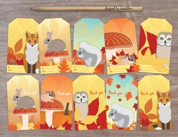 Autumn Animal Gift Tags - 10 Illustrated Woodland Fall Par