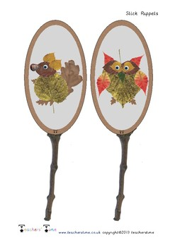 Autumn Animal Stick Puppets