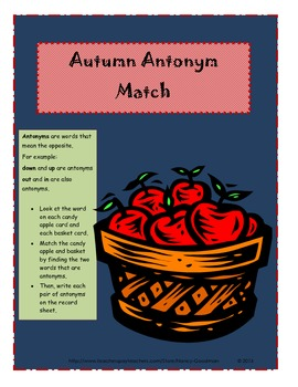 Autumn Antonym Match Learning Center Activity
