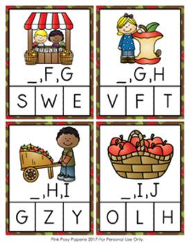 Autumn Apples Alphabet Letter Sequencing Clip Cards