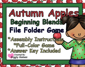 Autumn Apples Beginning Blends File Folder Game