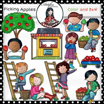 Autumn Apples Clip Art  (picking apples)- color and B&W