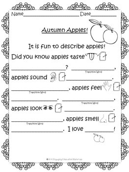 Autumn Apples Graphic Organizer & Essay Template for  Beginning Writers