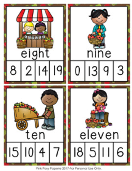 Autumn Apples Number Words Clip Cards