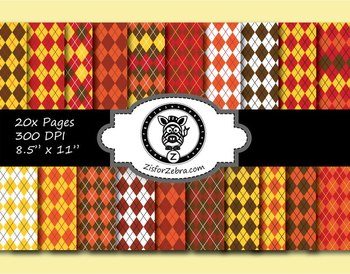 Autumn Argyle Paper Pattern Pack 1 - 20 pages - Commercial OK