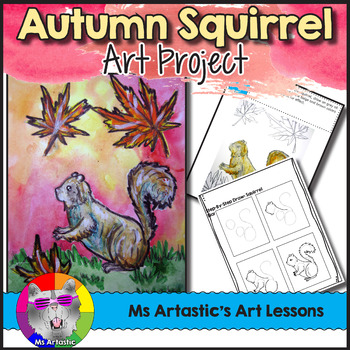 Autumn Art Lesson, Squirrel in Fall Leaves