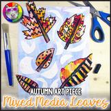 Autumn Art Project, Mixed Media Leaves Line Art