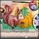 Autumn Art Lesson, Squirrel with Pumpkin Art Project