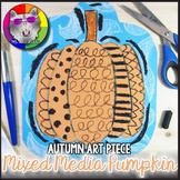 Autumn Art Lesson, Pumpkin Mixed Media Line Art Project